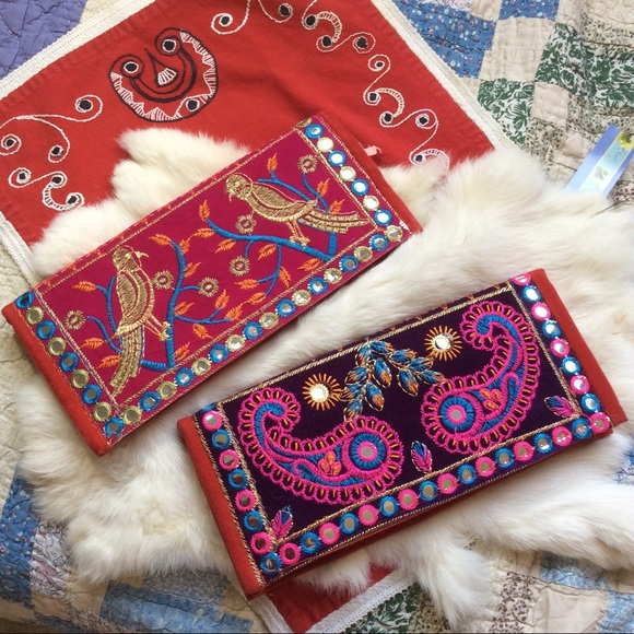 2 India Embroidered Bohemian Mirror Wallets